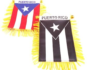 Puerto Rico Mini banner & Puerto Rican Black flag 2pc pack