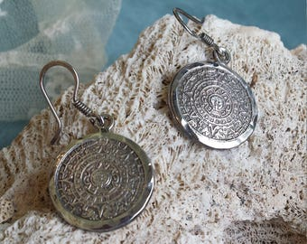 Sterling silver Aztec calendar drop earrings