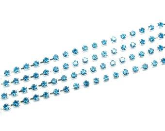 AZURE blue glass RHINESTONE silver chain 50cm