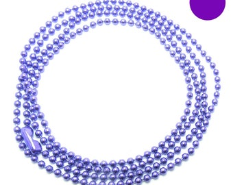 NECKLACE is 70cm ball chain 2mm purple