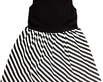 Black / Diagonal Stripe Dress -  Toddler Dress - Baby Dress - Girls Dress - Toddler Outfit - Baby Outfit - Baby Gift Idea - Toddler Clothes