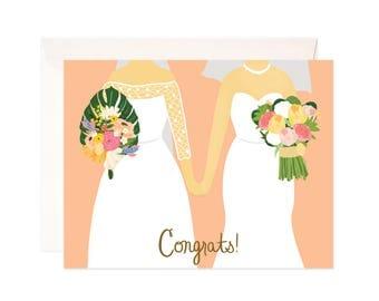 Lesbian Wedding Congratulations Card: Handmade Wedding Congrats Greeting Card
