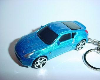 3D Nissan 370Z custom keychain by Brian Thornton keyring key chain finished in electric blue color trim greddy