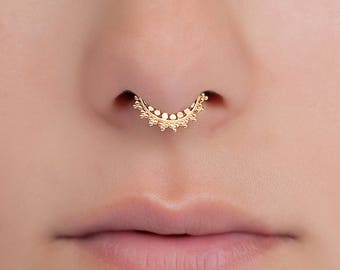 Tiny septum ring for pierced nose. indian septum ring. gold septum ring. gold septum jewelry. tribal septum ring.