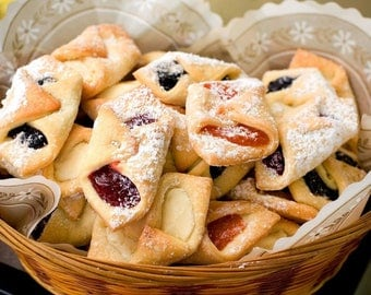 Delcos; Rugula; Rugelach Mini-Polish Cookies (Chocolate Chip, Raspberry, Apricot, Prune (Plum), Cinnamon-Nut, Cinnamon-Nut-Raisin)