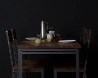 Walnut/Steel INDUSTRIAL Dining Table , rustic, vintage, chic, cafe, restaurant