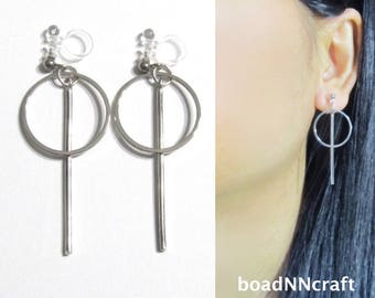 Long Bar Circle Hoop Clip On Earrings |41i| Dangle Silver Modern Geometric Clip On Earring,Drop Boho Invisible Clip-ons Non Pierced Earrings