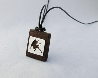 Necklace sign of the zodiac, wood and silver, sawed by hand! Taurus originally created in sterling silver