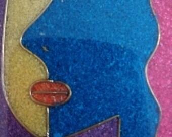 Vintage Op Art Pendant Necklace, Optical Art Pendant