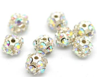 """30PCs Silver Plated AB Color Rhinestone Ball Beads 6mm( 2/8"""")"""