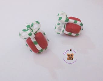 2 red Christmas package Fimo charm