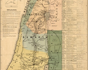 Poster, Many Sizes Available; Bible Map Of Jesus In Israel Palestine 1881