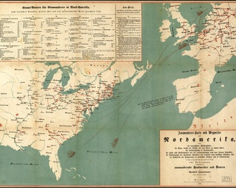 Poster, Many Sizes Available; Immigration Map Of United States 1853 In German