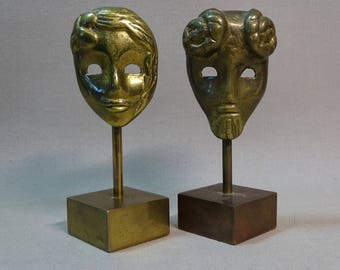 Small Brass Masks on Pedestal Great for the Theater Lover Two Available