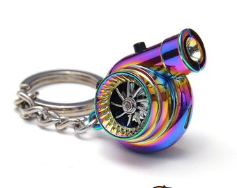 Boostnatics Rechargeable Electric Turbo Keychain Keyring w/ Sounds & LED - Neochrome - Version 5 (V5)