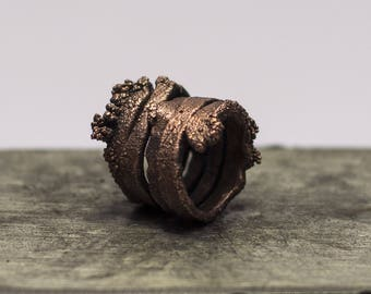 Copper Spiral Alchemic Ring