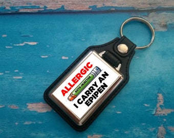 Silver Plated Keyring - Key Ring - Key Chain - Allergic - I carry an EpiPen - Medical Awareness Alert