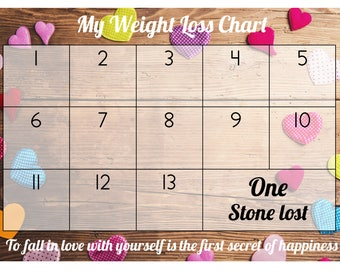 Weight Loss Chart / Tracker - 1 stone - Comes with Star Stickers - Weight Loss Motivation - A4 laminated 300gsm Card