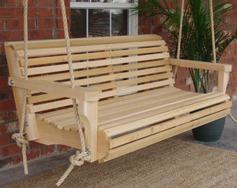 Brand New 4 Foot Cedar Wood Contoured Classic Porch Swing with Hanging Rope - Free Shipping