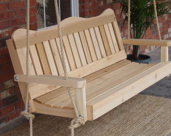 Brand New 7 Foot Cedar Wood Decorative Porch Swing with Hanging Rope - Free Shipping