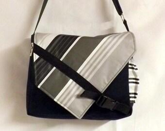 """Hobo """"Bobag"""" striped gray and black"""