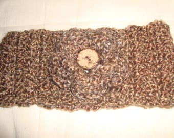 Crochet Headband With Flower And Button..Homespun ..Adult..Brown/Tan