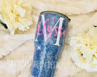 Personalized Glitter Tumbler, reach for the stars,