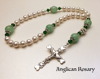 Personalized Anglican Rosary. Christian Rosary. White and Green Rosary. Rosary Gift. Protestant Prayer Beads. Episcopal Rosary. #AR27