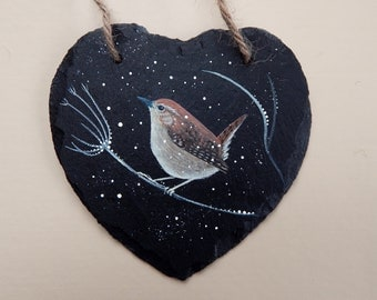 Winter Wren - hand painted Slate Heart