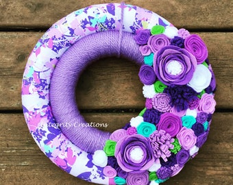 Fabric and Yarn Wrapped Summer and Spring Double Wreath