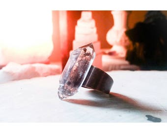 Black Phantom Quartz Copper Statement Ring ~ Adjustable