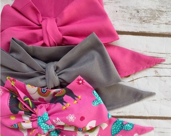 Gorgeous Wrap Trio (3 Gorgeous Wraps)- Pink Taffy, Platinum & Pink Llama Gorgeous Wraps; headwraps; fabric head wraps; bows