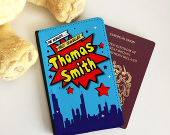 Personalised Blue Superhero Comic Strip Passport Cover - Passport Case - Passport Wallet for kids and adults