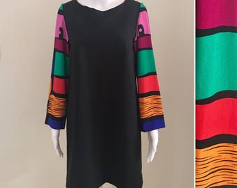80s/90s bold colour block shift size US 10 / AU 12