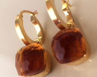 Silver earrings in yellow gold quartz stones
