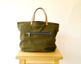 Olive Leather Canvas Tote bag, Diaper bag , Beach bag with Real Leather Strap