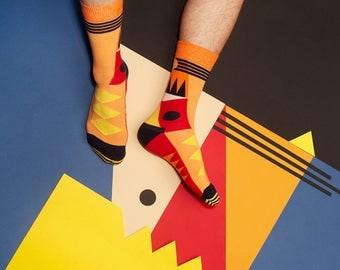 Bolivar Orange Socks for Men and Women, Patterned Socks, Cool Socks, Beautiful Socks, Bright Socks, Dot Socks, Art Socks, Fashion Socks