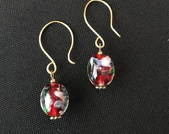 Lamp Work Glass Drop Earrings