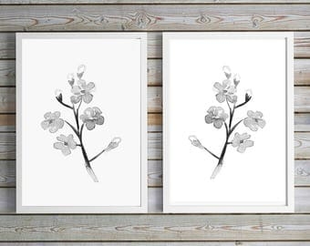 Forget me not flower Art - flower decor - print set - black white gray flowers - forget me not watercolor painting mirrored set