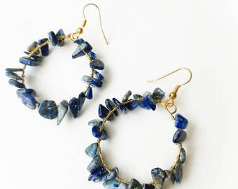 Circle lapis lazuri earrings boho long gemstone handmade drop gift for her for Mom unique beaded deep blue designer jewelry exlusive vibrant