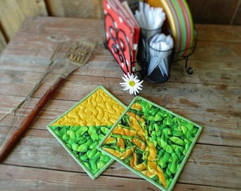 Kitchen Hot Pads, Summer BBQ Pot Holders, Green Yellow Quilted Potholders, Large Fabric Hot Mats, Two Vegetable Pot Holders, Gift for Cook