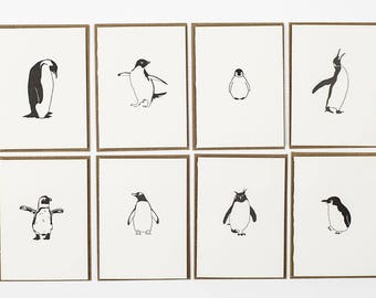 Letterpress Thank you cards - penguin card pack - Letterpress Cards - Penguin note Cards - Small Note Cards - note card set - Christmas