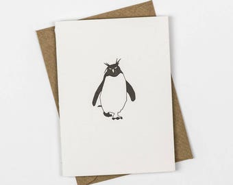 Penguin Card - Penguin Christmas Cards - Letterpress Note Cards - Christmas Note Cards - Rockhopper penguin - Blank Card - Holiday Cards