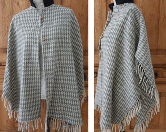 Vintage Stand-Up Collar Wool Button Front Fringe Hem Poncho Cape