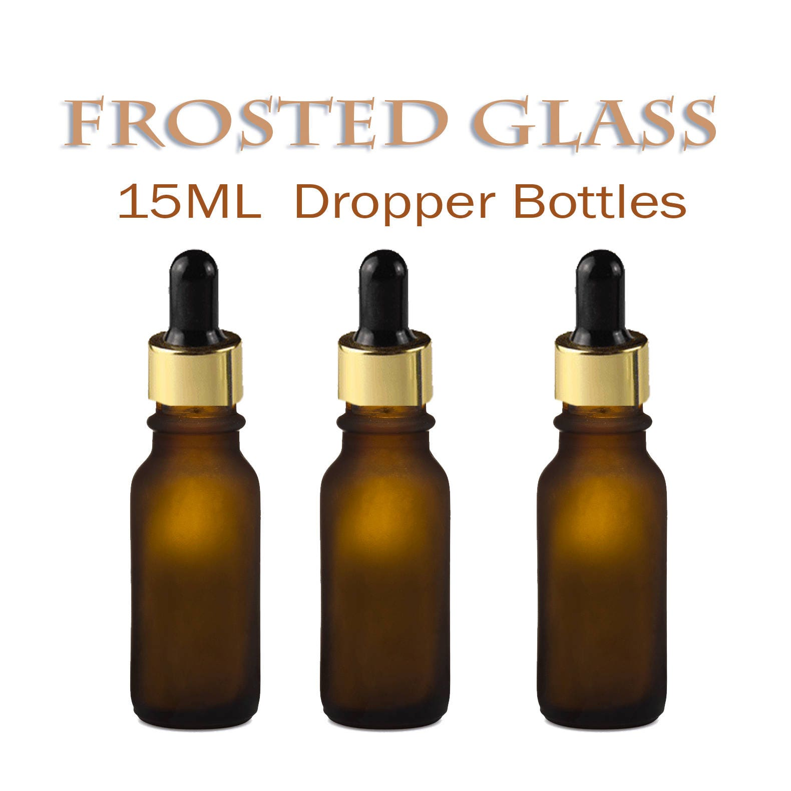 12 Frosted Amber 15ml Glass Bottles W Metallic Gold Glass