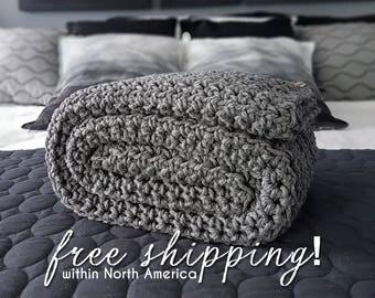 Gray Crochet Blanket, Blanket, Throw Blanket, Grey Throw Blanket, Chunky Crochet Throw, Crochet Blankets, Crochet Throw, Grey Blanket
