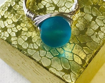 Large Blue Sea Glass Silver Wire Wrapped Ring
