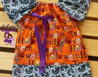 Halloween Peasant Dress, Halloween Girls Dress, Orange Halloween Dress, Baby Girl Halloween Dress, Peasant Style Halloween Dress, Halloween