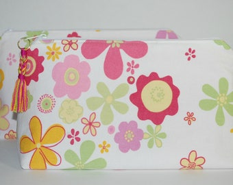Cosmetic Bag, Zipper Pouch made from Reused, Recycled White and Floral Print Fabric