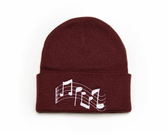 Music Notes Beanie, Music Notes Hat, Musicians Gifts, Embroidered Beanie